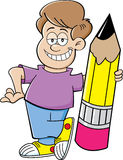 Cartoon boy holding a pencil Stock Photos