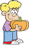 Cartoon boy holding a pumpkin Stock Photos