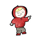 Cartoon boy in hooded sweatshirt dancing Stock Image