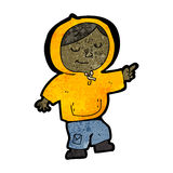 Cartoon boy in hooded top pointing Stock Photos
