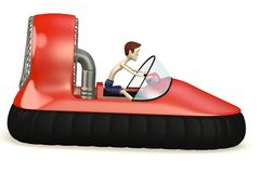 Cartoon boy in hovercraft. 3d render of cartoon boy in hovercraft Stock Image