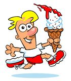 Cartoon boy with ice cream cone Stock Photo
