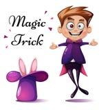 Cartoon boy illustration. Magic tric, rabbit , trick. vector illustration
