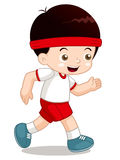 Cartoon boy jogging Royalty Free Stock Photo