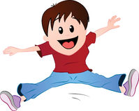 Cartoon boy jumping. A cartoon  featuring a boy jumping in excitement Stock Photo
