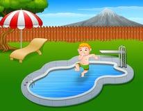 Cartoon boy jumping holding his nose. Illustration of Cartoon boy jumping holding his nose Stock Image