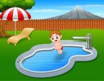 Cartoon boy jumping in swimming pool. Illustration of Cartoon boy jumping in swimming pool Stock Photo