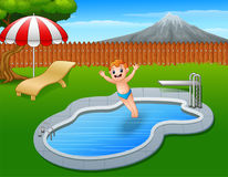 Cartoon boy jumping in swimming pool. Illustration of Cartoon boy jumping in swimming pool Royalty Free Stock Images