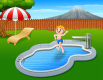 Cartoon boy jumping in swimming pool. Illustration of Cartoon boy jumping in swimming pool Royalty Free Stock Photography