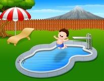 Cartoon boy jumping in swimming pool. Illustration of Cartoon boy jumping in swimming pool Stock Image