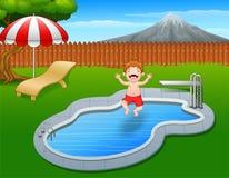 Cartoon boy jumping in swimming pool. Illustration of Cartoon boy jumping in swimming pool Stock Photos