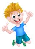 Cartoon Boy Jumping Thumbs Up Royalty Free Stock Photos