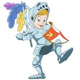Cartoon boy knight. Cartoon knight with shield and sword, isolated on white background. Colorful book page design for kids and children Royalty Free Stock Photography