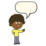 Cartoon boy laughing and pointing with speech bubble Stock Image