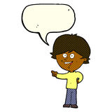 Cartoon boy laughing and pointing with speech bubble Stock Photography