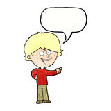 Cartoon boy laughing and pointing with speech bubble Royalty Free Stock Photos