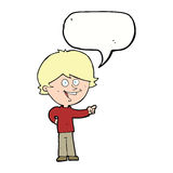 Cartoon boy laughing and pointing with speech bubble Stock Images