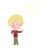 Cartoon boy laughing and pointing with thought bubble Stock Images