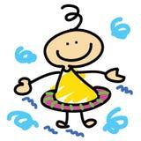 Cartoon boy learn swimming. Hand-drawn Royalty Free Stock Photos