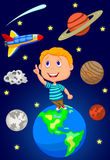 Cartoon boy looking at the sky Royalty Free Stock Image