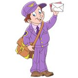 Cartoon happy postman with a letter Royalty Free Stock Image