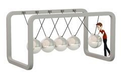 Cartoon boy with newton cradle Royalty Free Stock Photos