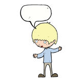 cartoon boy with outstretched arms with speech bubble Stock Photos