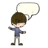 cartoon boy with outstretched arms with speech bubble Royalty Free Stock Photo