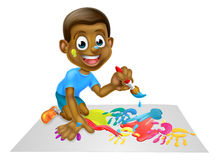 Cartoon Boy Painting With Brush Stock Photography