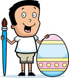 Cartoon Boy Painting Easter Egg Stock Photo