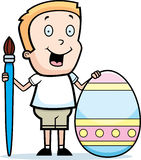 Cartoon Boy Painting Easter Egg Royalty Free Stock Photo