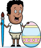 Cartoon Boy Painting Easter Egg Royalty Free Stock Image