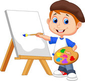 Cartoon boy painting Royalty Free Stock Images