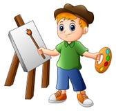 Cartoon boy painting vector illustration