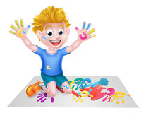 Cartoon Boy Painting Stock Photo
