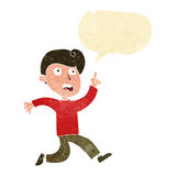 Cartoon boy panicking with speech bubble Stock Photo