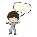 Cartoon boy panicking  with speech bubble Stock Photography