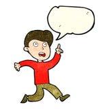 Cartoon boy panicking with speech bubble Royalty Free Stock Photography