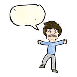 Cartoon boy panicking with speech bubble Royalty Free Stock Photos