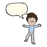 Cartoon boy panicking with speech bubble Stock Image