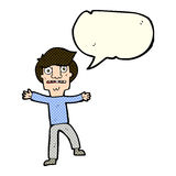Cartoon boy panicking with speech bubble Stock Images