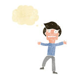Cartoon boy panicking with thought bubble Royalty Free Stock Photos