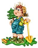 Cartoon boy planting tree. A creative cartoon or illustration of a boy with garden tools, carrying a small tree as if to plant it Stock Photography