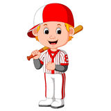 Cartoon boy playing baseball Royalty Free Stock Photography