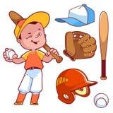 Cartoon boy playing baseball. Baseball equipment. Royalty Free Stock Photo