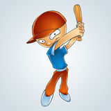 Cartoon boy playing baseball. Vector Royalty Free Stock Image
