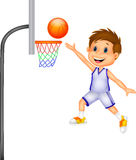 Cartoon boy playing basket ball Stock Photos