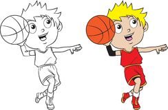 Cartoon boy playing basketball. Both in separate layers for easy editing and coloring Royalty Free Stock Photo