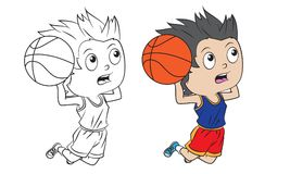 Cartoon boy playing basketball. Both in separate layers for easy editing and coloring Stock Photography