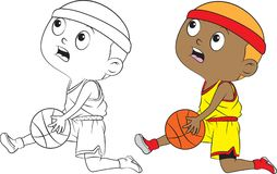 Cartoon boy playing basketball. Both in separate layers for easy editing and coloring Stock Photos